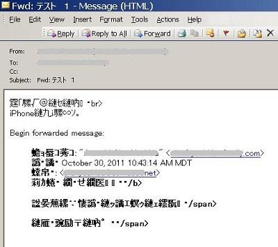 転送メールをPCで受信すると、文字化けする。